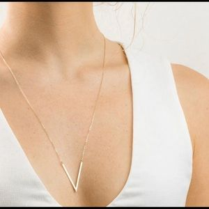 Simple V Silver Necklace